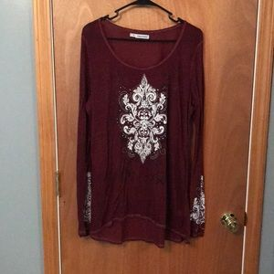 Maurice's Burgundy Burnout Embroidery Long Sleeve